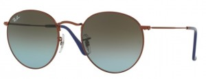 Okulary RAY BAN 3447 ROUND METAL Shiny Dark Bronze / Blue Gradient Brown ORB3447-900396