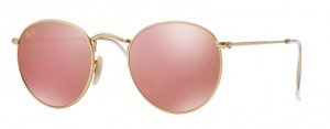 Okulary RAY BAN 3447 ROUND METAL Matte Gold / Brown Mirror Pink ORB3447-112/Z2