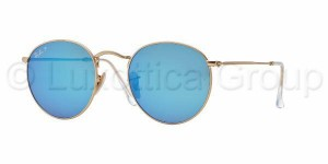 Okulary RAY BAN 3447 ROUND METAL Matte Gold / Blue Mirror Polarized ORB3447-112/4L