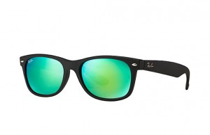 Okulary RAY BAN 2132 NEW WAYFARER Rubber Black / Grey Mirror Green RB2132 622/19