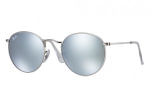 Okulary RAY BAN 3447 ROUND METAL Matte Silver / Light Green Mirror Silver ORB3447-019/30